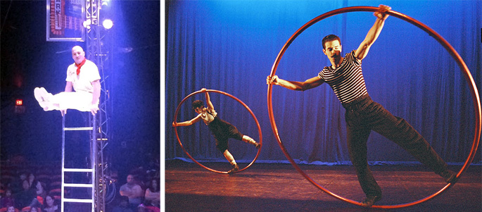 "Daniel on the Free Ladder in BAC's ""Luminocity"" and Two Cirque Eloize performers in the Cyr Wheel"