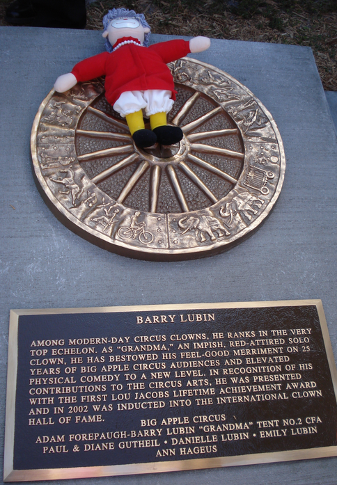Barry Lubin's Wagon Wheel Plaque in the Circus Ring of Fame