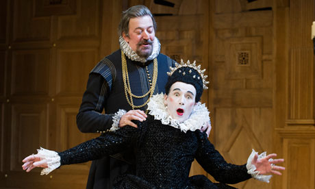 "Mark Rylance as Olivia and Stephen Fry as Malvolio in ""Twelfth Night,"" the most recent Shakespeare play to be produced on Broadway, photo by Tristram Kenton"