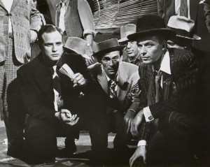 "Marlon Brando and Frank Sinatra shooting craps in the 1955 film ""Guys and Dolls"""