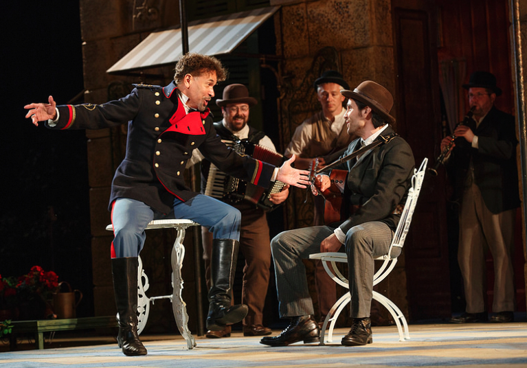 Brian Stokes Mitchell as Don Pedro with Steel Burkhardt Photo by Joan Marcus