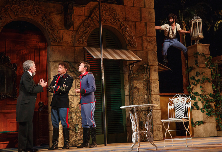 Hamish Linklater eavesdropping on John Glover, Brian Stokes Mitchell, and Jack Cutmore Photo by Joan Marcus