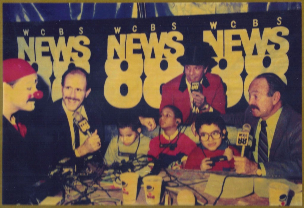 "The commentators at the first Circus of the Senses. This picture is from a plaque that reads: THANK YOU FOR MAKING ""CIRCUS OF THE SENSES"" A TRULY MEMORABLE EVENT FROM YOUR FRIENDS AT WCBS NEWS 88 NOVEMBER 18, 1988"