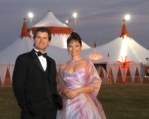 Pedro Reis and Dolly Jacobs in front of the Circus Sarasota big top, photo courtesy of the Circus Arts Conservatory
