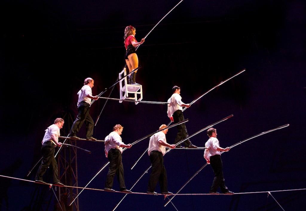 The Fabulous Wallendas' seven person pyramid at Circus Sarasota, photo by Rick Purdue