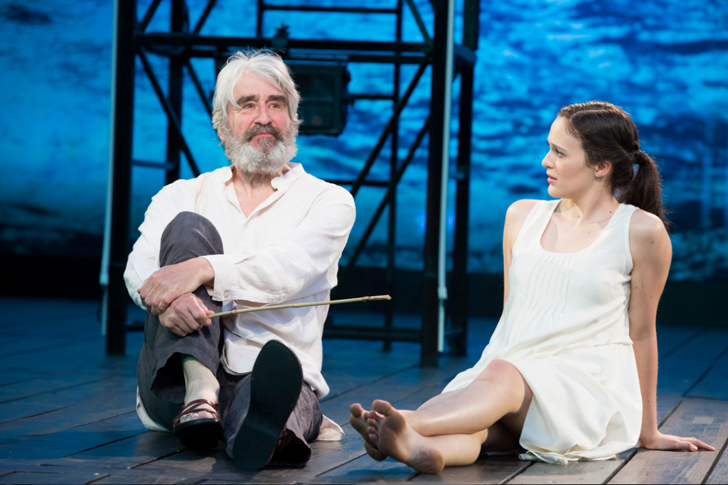 Sam Waterston as Prospero and Francesca Carpanini as Miranda, photo by Joan Marcus
