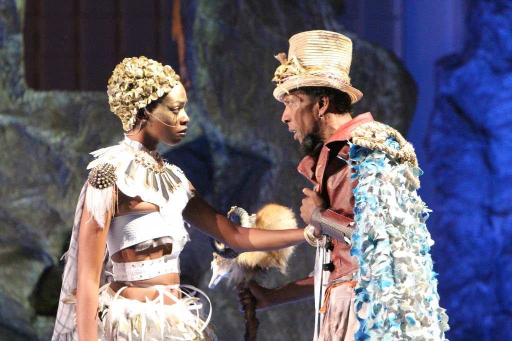 Fedna Jacquet as Ariel and Ron Cephas Jones as Prospero, Photo by Jill Jones