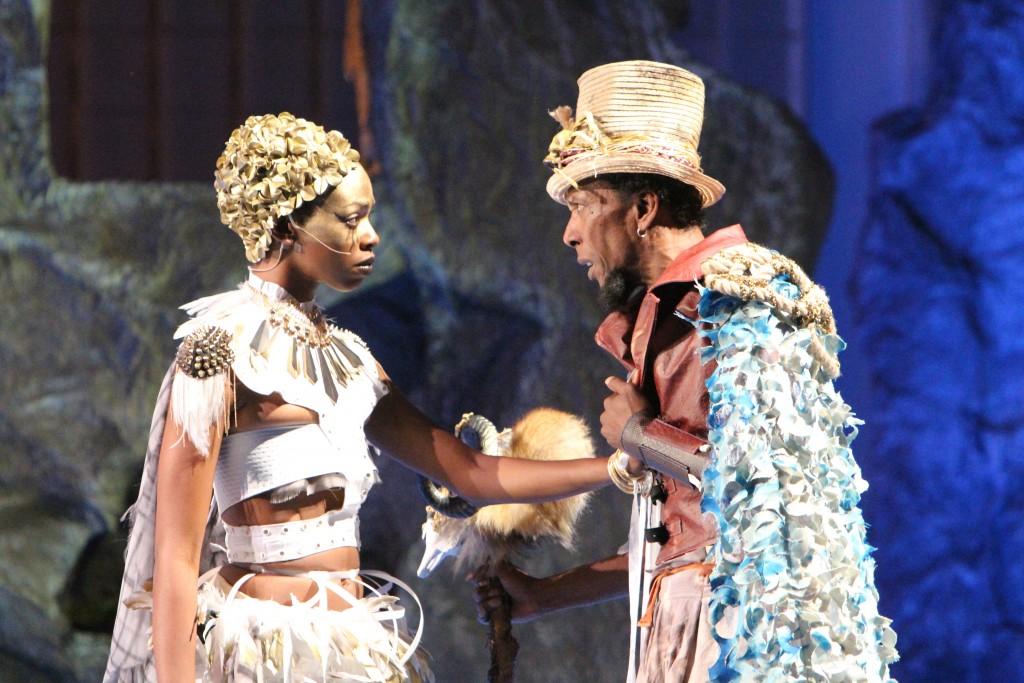 Fedna Jacquet as Ariel and Ron Cephas Jones as Prospero, Photo by Jill Jones