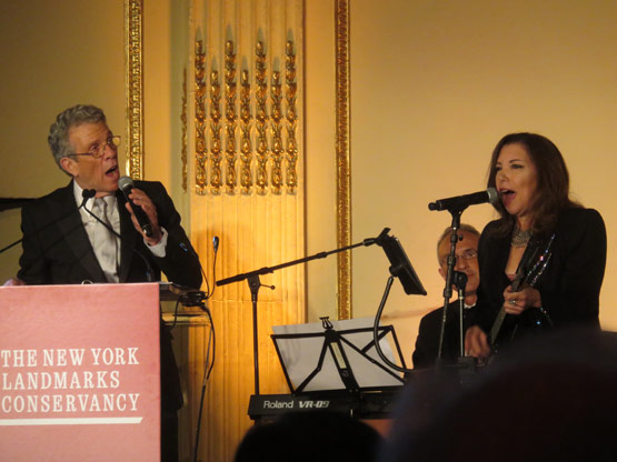 "Me and Roberta Fabiano singing ""Landmark State of Mind."" Photo credit to New York Social Diary"